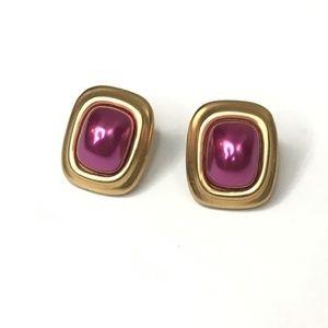 Liz Claiborne Vintage Purple Gold LCi Earrings
